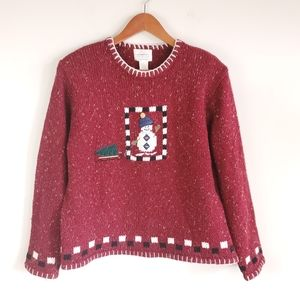 Red embroidered Christmas sweater